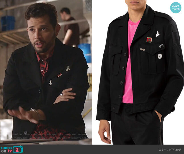 Twill Button-Front Jacket with Pin Details by Ovadia & Sons worn by Sam Flores (Rafael de la Fuente) on Dynasty