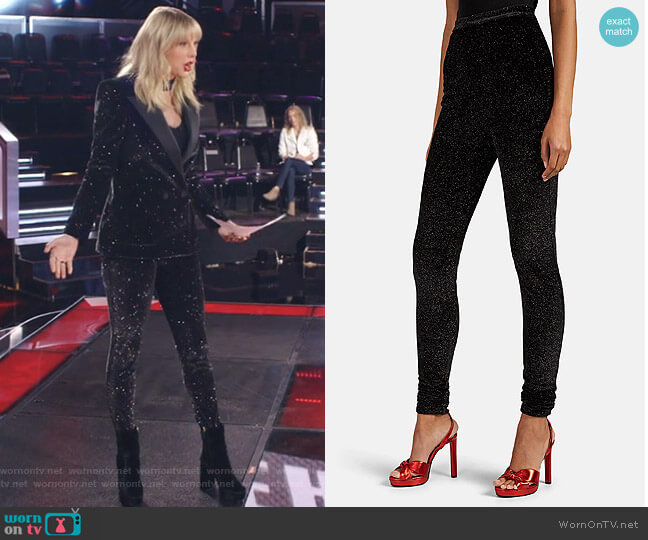 Glitter-Embellished Velvet High-Rise Leggings by Philosophy di Lorenzo Serafini worn by Taylor Swift on The Voice
