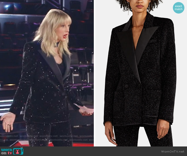 Glitter Velvet Double-Breasted Blazer by Philosophy di Lorenzo Serafini worn by Taylor Swift on The Voice