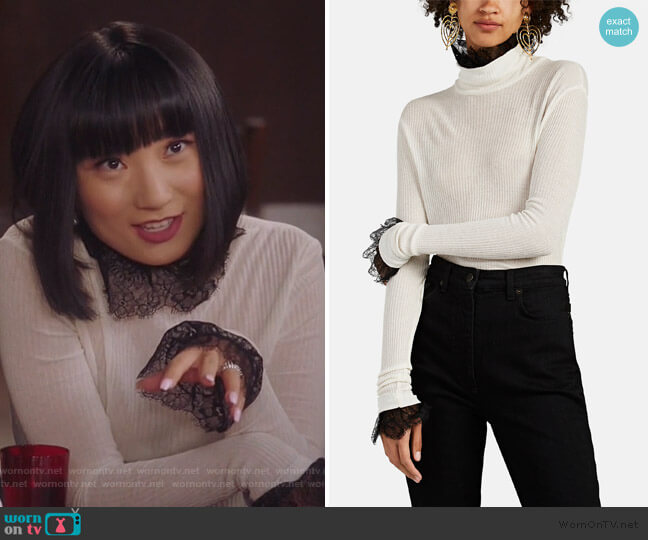 Lace-Trimmed Rib-Knit Turtleneck Sweater by Philosophy Di Lorenzo Serafini worn by Mei Lin (Poppy Liu) on Sunnyside