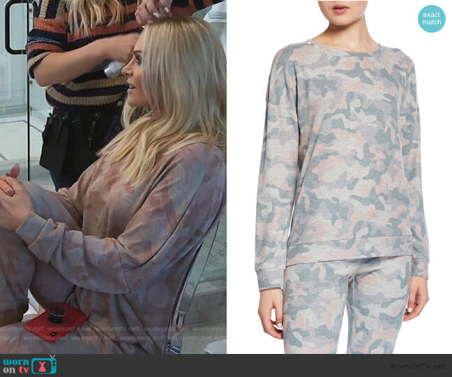 Weekend Love Camo Lounge Sweater and Sweat Pants by PJ Salvage worn by Tamra Judge  on The Real Housewives of Orange County