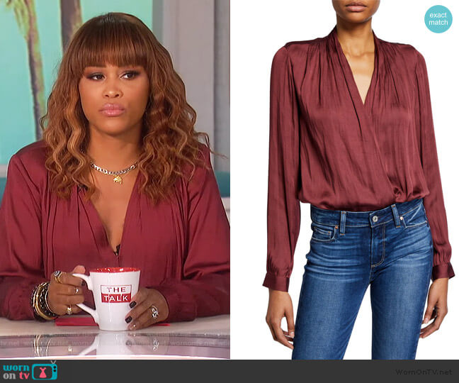 Sevilla Draped Satin Bodysuit by Paige worn by Eve  on The Talk