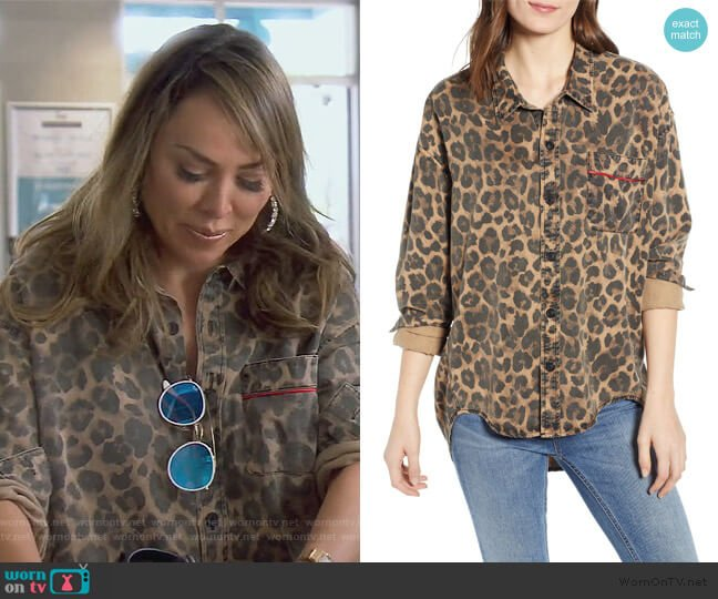 Leopard Print Oversized Shirt by Pam & Gela worn by Kelly Dodd  on The Real Housewives of Orange County