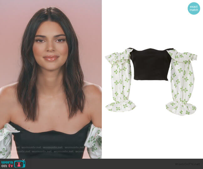 Ruffle Printed Bodice Crop Top by Paris Georgia worn by Kendall Jenner  on Keeping Up with the Kardashians
