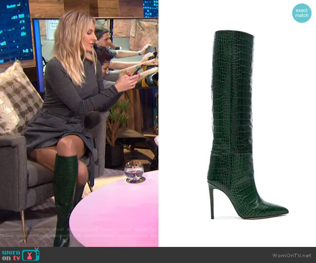 Knee-High Croc-Embossed Leather Boots by Paris Texas worn by Morgan Stewart  on E! News