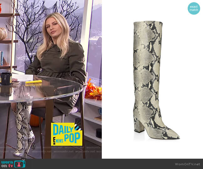 Knee-High Python-Embossed Leather Boots by Paris Texas worn by Morgan Stewart  on E! News
