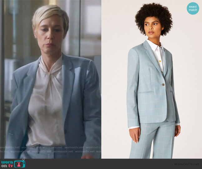 Powder Blue Windowpane Check Loro Piana Wool Blazer and Pants by Paul Smith worn by Bonnie Winterbottom (Liza Weil) on HTGAWM