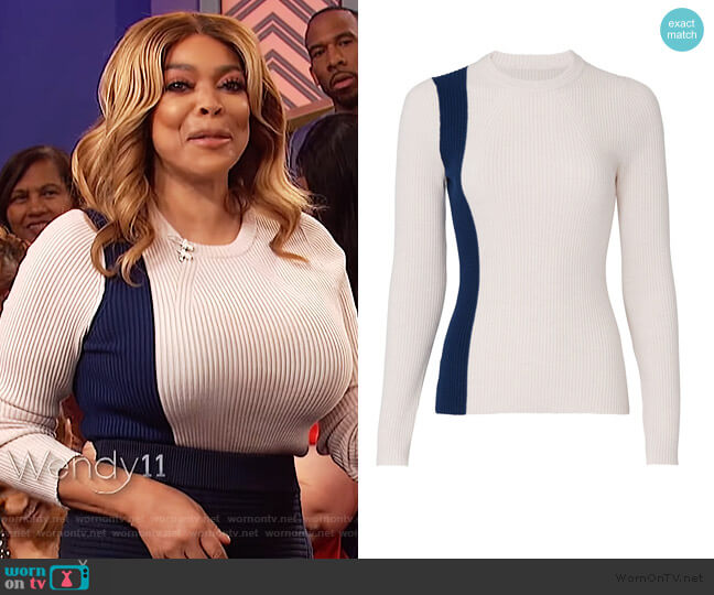 Two Tone Ribbed Pullover by 3.1 Phillip Lim worn by Wendy Williams  on The Wendy Williams Show
