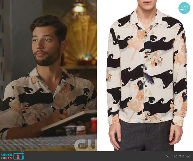 Pisces Slim Fit Print Button-Up Camp Shirt by All Saints worn by Sam Flores (Rafael de la Fuente) on Dynasty