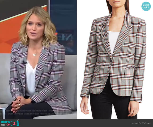 One-Button Plaid Blazer by Derek Lam 10 Crosby worn by Sara Haines  on Good Morning America