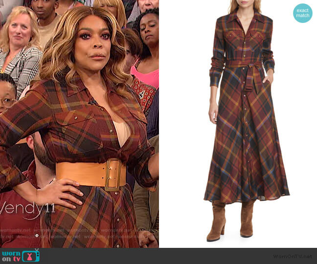 Tartan Long Sleeve Wool Shirtdress by Polo Ralph Lauren worn by Wendy Williams  on The Wendy Williams Show