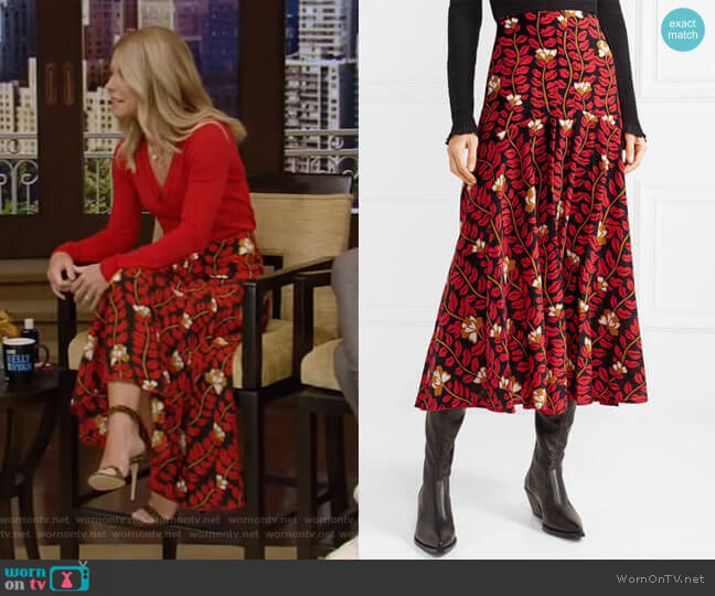 Printed Midi Skirt by Sonia Rykiel worn by Kelly Ripa  on Live with Kelly & Ryan