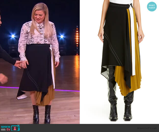 Asymmetrical Side Pleat Crepe Skirt by Proenza Schouler worn by Kelly Clarkson  on The Kelly Clarkson Show