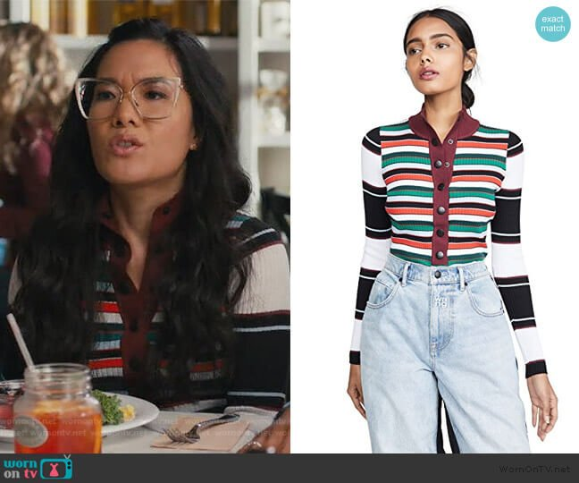 Ribbed Rugby Striped Turtleneck Sweater by Proenza Schouler worn by Doris (Ali Wong) on American Housewife