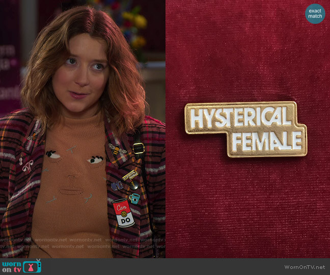 Hysterical Female Pin by Rachel Antonoff worn by Nonnie Thompson (Kimmy Shields) on Insatiable