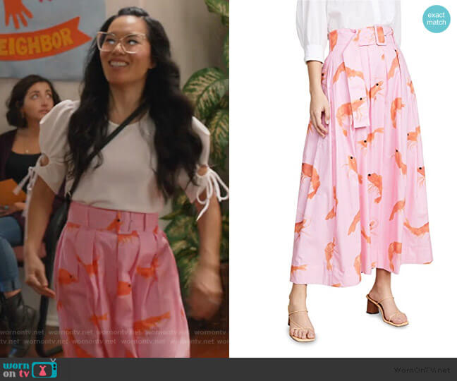 inita Midi Skirt by Rachel Antonoff worn by Doris (Ali Wong) on American Housewife