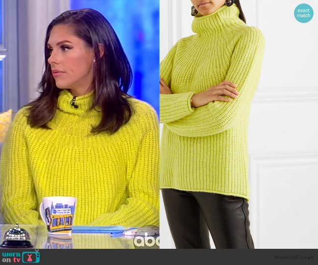 Joseph ribbed-knit turtleneck Sweater by Rag and Bone worn by Abby Huntsman  on The View
