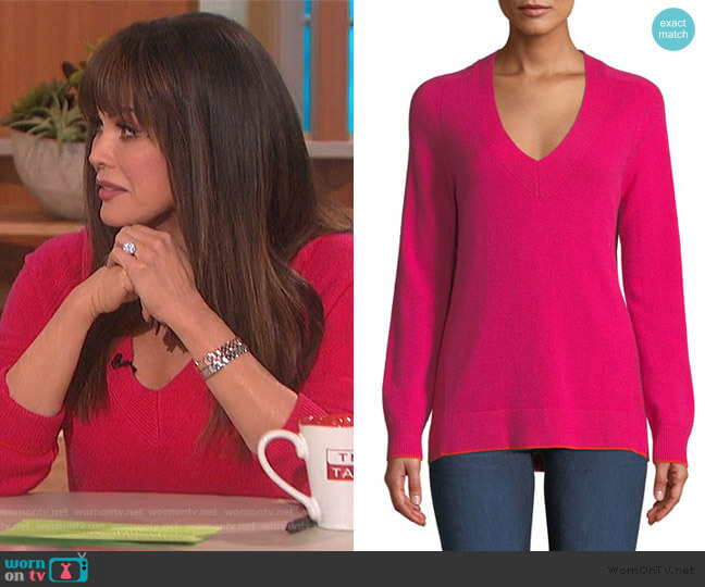 Yorke Cashmere V-Neck Sweater with Mesh Panels by Rag and Bone worn by Marie Osmond  on The Talk