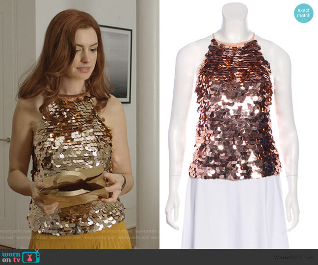 Sequined Sleeveless Top by Ramy Brook worn by Lexi (Anne Hathaway) on Modern Love