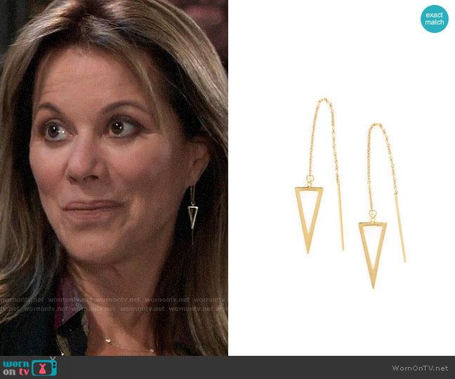Rebecca Minkoff Triangle Threader Earrings worn by Alexis Davis (Nancy Lee Grahn) on General Hospital