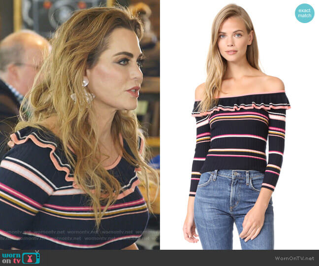 Long Sleeve Striped Rib Pullover by Rebecca Taylor  worn by D'Andra Simmons  on The Real Housewives of Dallas