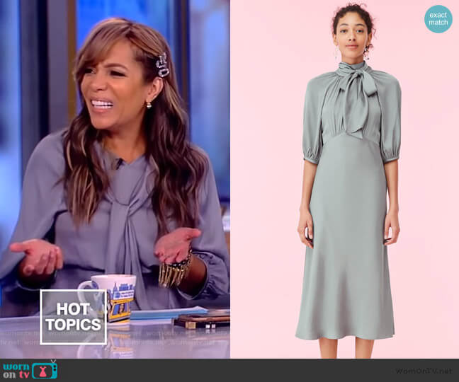 Satin Tie Neck Dress by Rebecca Taylor worn by Sunny Hostin  on The View