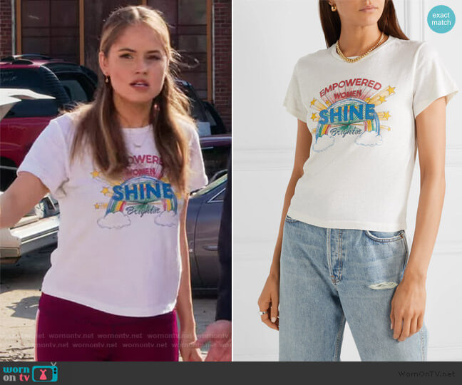 Shine printed cotton-jersey T-shirt by Re/done worn by Patty Bladell (Debby Ryan) on Insatiable