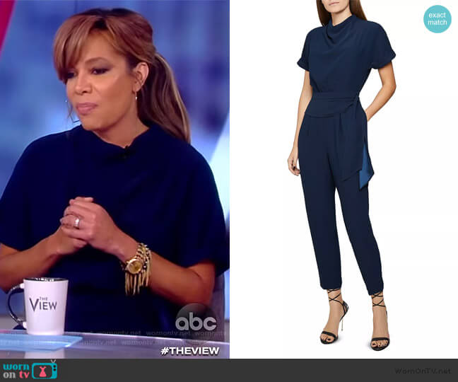 Silva Draped Belted Jumpsuit by Reiss worn by Sunny Hostin  on The View
