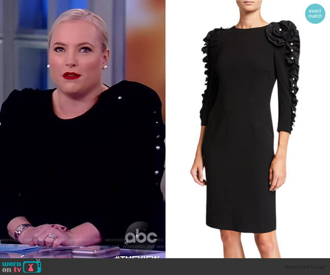 Pearl Embellished Sheath Dress by Teri Jon by Rickie Freeman worn by Meghan McCain  on The View