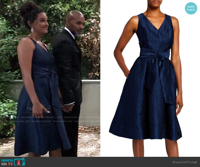 Rickie Freeman for Teri Jon V-Neck Sleeveless Jacquard Dress with Sash Belt worn by Jordan Ashford (Briana Nicole Henry) on General Hospital