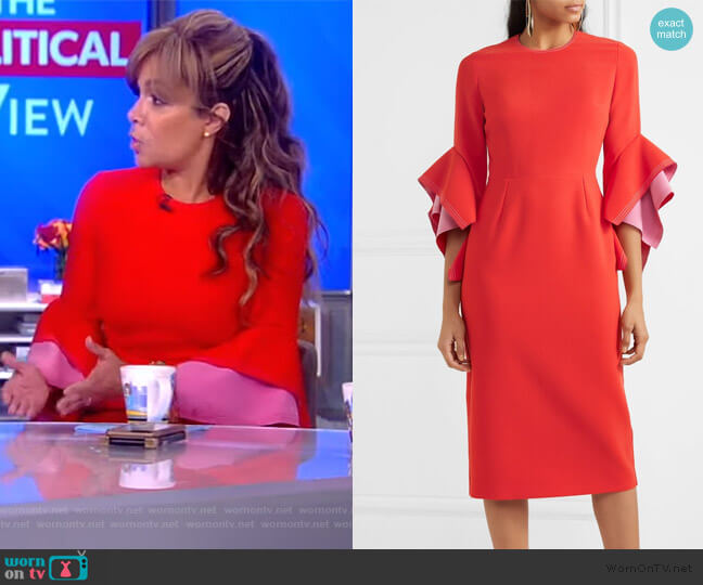 Ronda contrast-panel fluted-cuff cady dress by Roksanda worn by Sunny Hostin  on The View