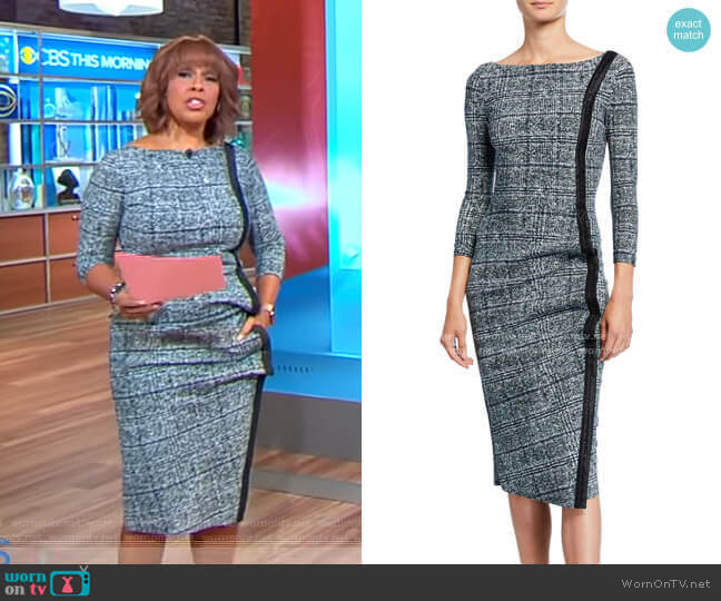 Rosmarijn Checked Dress by Chiara Boni La Petite Robe worn by Gayle King  on CBS This Morning