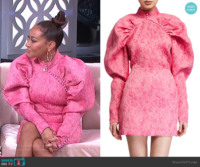 Hadiza High-Necked Printed Silk Mini Dress by Rotate Birger Christensen worn by Adrienne Houghton  on The Real