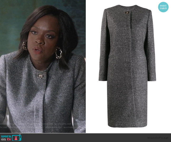 Houndstooth Single-breasted Coat by Salvatore Ferragamo worn by Annalise Keating (Viola Davis) on HTGAWM