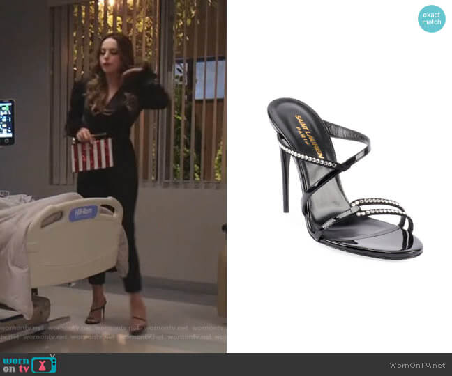 Paris Embellished Slide Sandals by Saint Laurent worn by Fallon Carrington (Elizabeth Gillies) on Dynasty