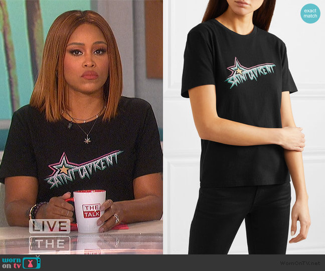 Printed cotton-jersey T-shirt by Saint Laurent worn by Eve  on The Talk