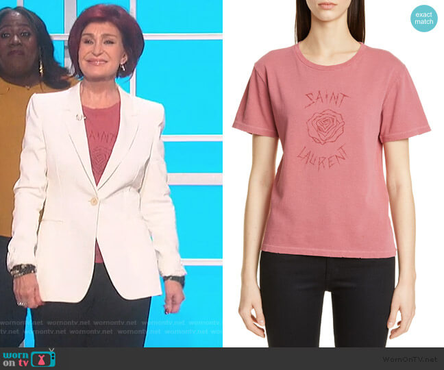 Rose Logo Graphic Tee by Saint Laurent worn by Sharon Osbourne  on The Talk