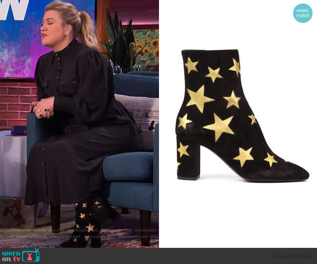 Star Embossed Ankle Boots by Saint Laurent worn by Kelly Clarkson  on The Kelly Clarkson Show