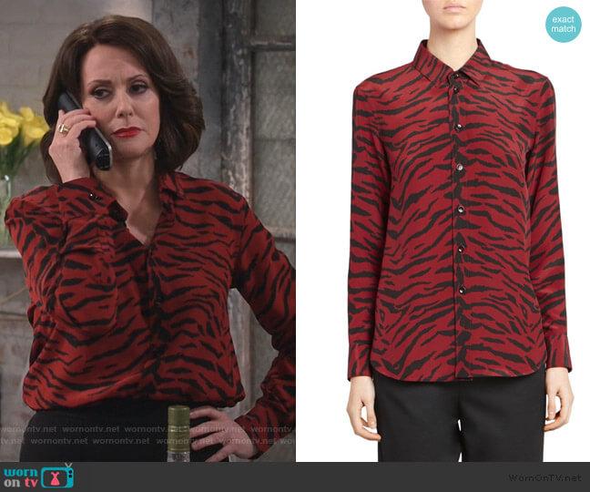 Tiger-Print Silk Crêpe De Chine Blouse by Saint Laurent worn by Karen Walker (Megan Mullally) on Will & Grace
