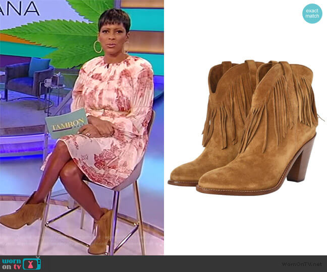 Tan New Western 80 Fringe Boots by Saint Laurent worn by Tamron Hall  on Tamron Hall Show
