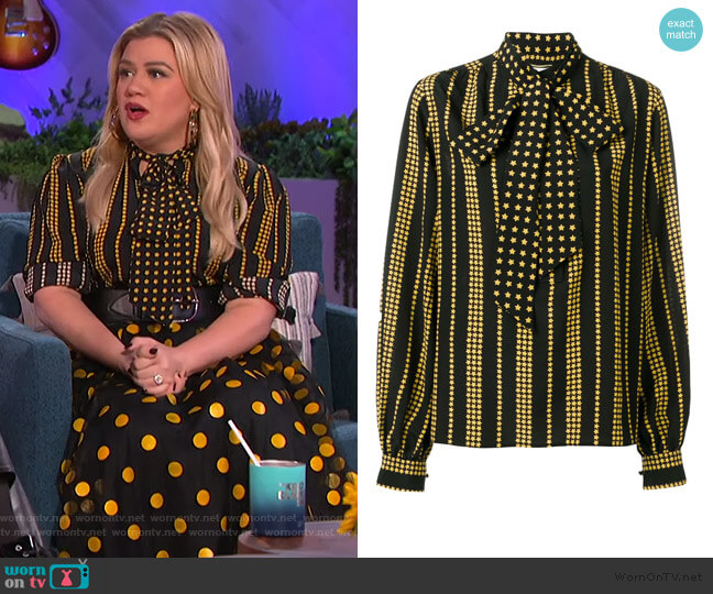 Star Print Blouse by Saint Laurent worn by Kelly Clarkson  on The Kelly Clarkson Show