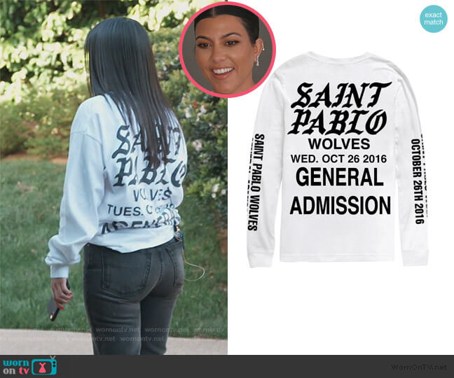 Wolves White Long Sleeve Tee by Yeezy worn by Kourtney Kardashian  on Keeping Up with the Kardashians