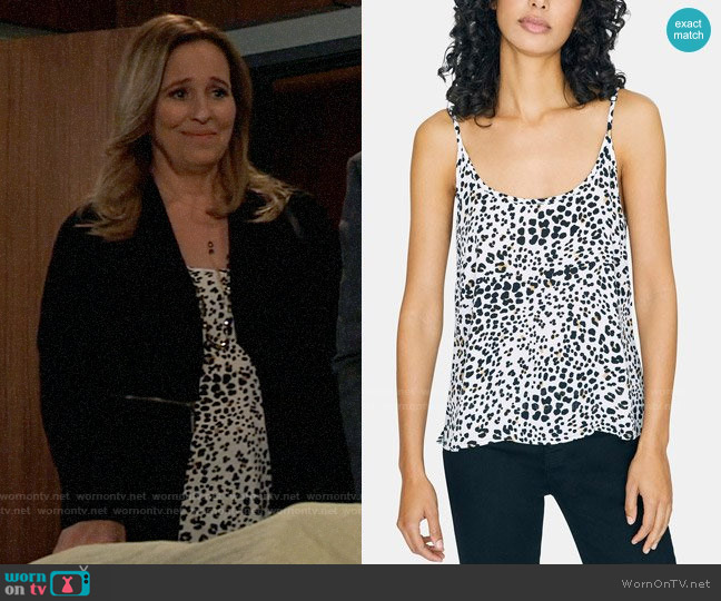 Sanctuary Animal Print Camisole worn by Laura Collins (Genie Francis) on General Hospital