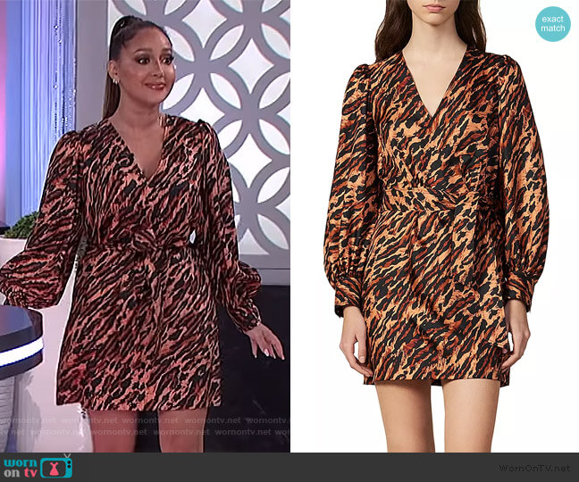 Lunas Leopard Dress by Sandro worn by Adrienne Houghton  on The Real