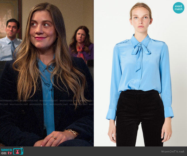 Sandro Silk Shirt with Bow Collar worn by McAfee (Laura Dreyfuss) on The Politician