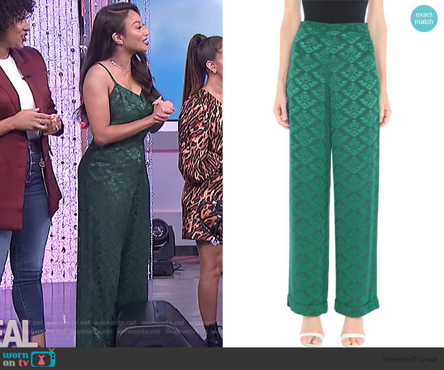 Floral Jacquard Pants by Sandro worn by Jeannie Mai  on The Real