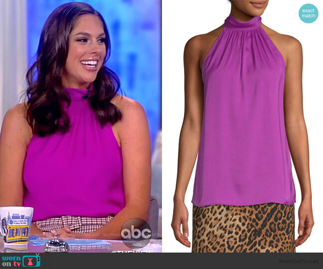 Hammered Satin Halter Neck Top by Scoop worn by Abby Huntsman  on The View