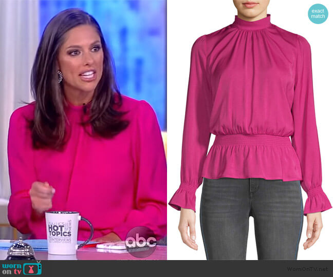 Hammered Satin Long Sleeve Peplum Top by Scoop worn by Abby Huntsman  on The View