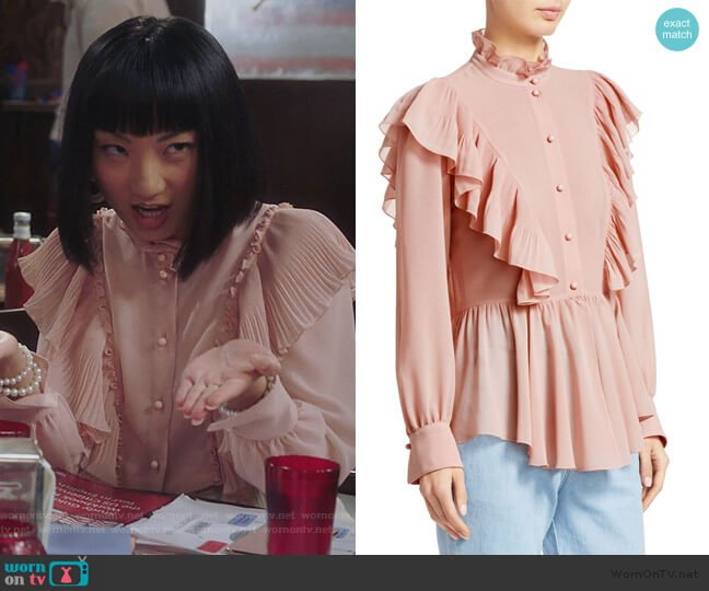 Ruffled Crepe Blouse by See by Chloe worn by Mei Lin (Poppy Liu) on Sunnyside