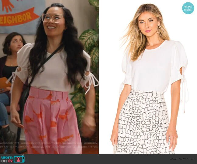 Puff Sleeve Blouse by See by Chloe worn by Doris (Ali Wong) on American Housewife